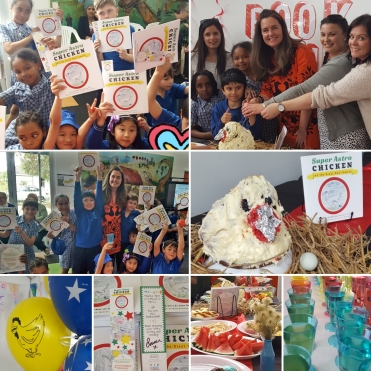 Author and Ardoch 'Writer in Residence' Emma Bowd, with Grade 2/3 students and teachers at Mother of God Primary, Ardeer, for their book launch of 'Super Astro Chicken and the Giant Red Tomato' 2018.