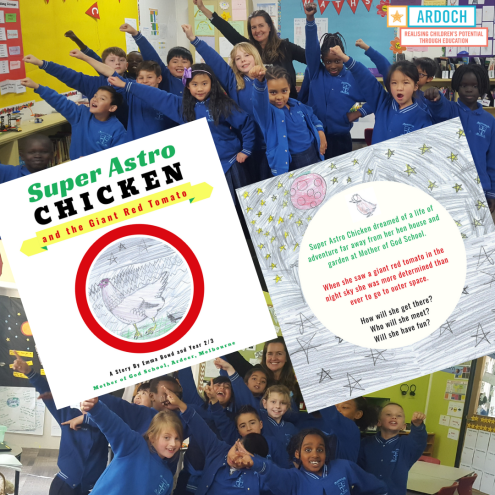 Ardoch Writer in Residence, Emma Bowd, with students at Mother of God Primary, Ardeer and their middle grade co-authored book, Super Astro Chicken and the Giant Red Tomato